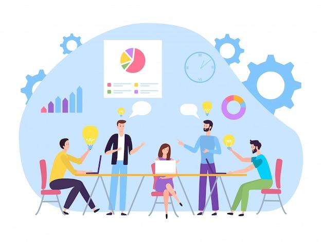 비즈니스 회의 그림에서 브레인 스토밍하는 사람들. 회사원, 캐릭터는 사무실에서 새로운 아이디어 프로젝트를 만듭니다.