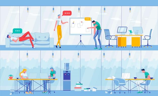 ホワイトボード、仕事に近いアイデアをブレインストーミングする人々。