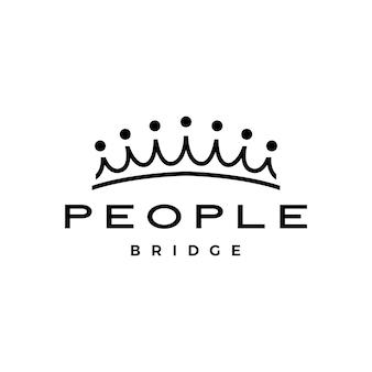 Люди мост корона группа семь 7 сообщество семья связь работа в команде строительство логотип вектор значок иллюстрации