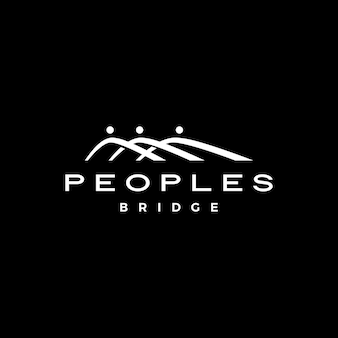 People bridge group three 3 community family connection team work construction logo vector icon illustration