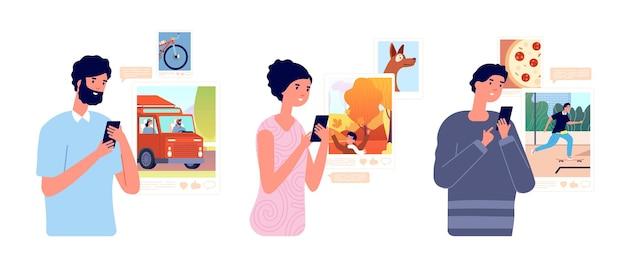Люди просматривают социальные сети. девушка просматривает мобильный телефон, студент делится фотографиями. чат смартфона, онлайн-влияние или векторная иллюстрация зависимости. просмотр в интернете, использование в социальных сетях, люди с гаджетами