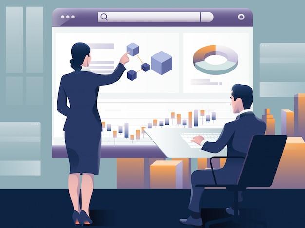 Люди создают информационную панель и взаимодействуют с графиками