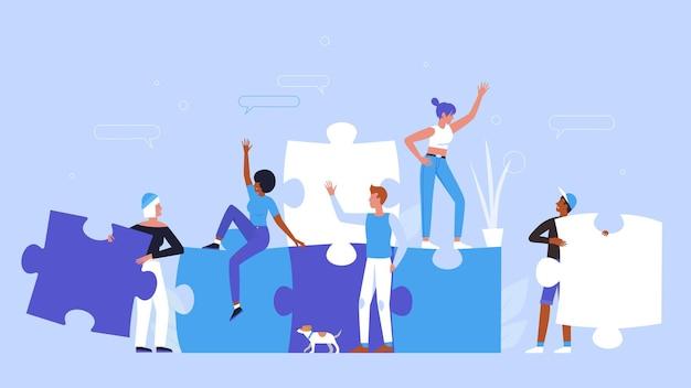 창조적 인 퍼즐 개념을 구축하는 사람들