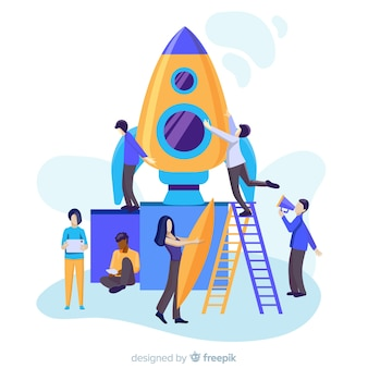 People building rocket background