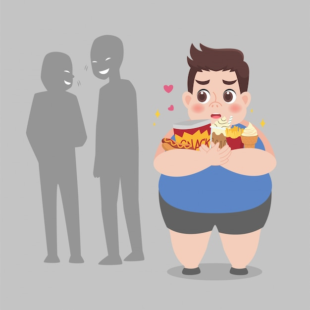 People bullying fat man, plus size boy have some bullying and feel upset to his obesity