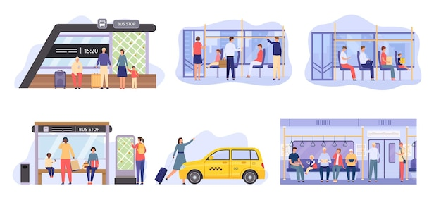 People at bus stop, crowd inside city public transport. flat characters travel by metro train, waiting autobus or tram. passenger vector set. woman taking yellow cab, sitting in train