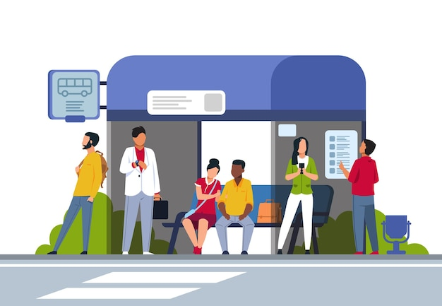 People on bus stop illustration