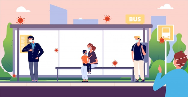 People on bus stop. man woman kid wearing protective masks.
