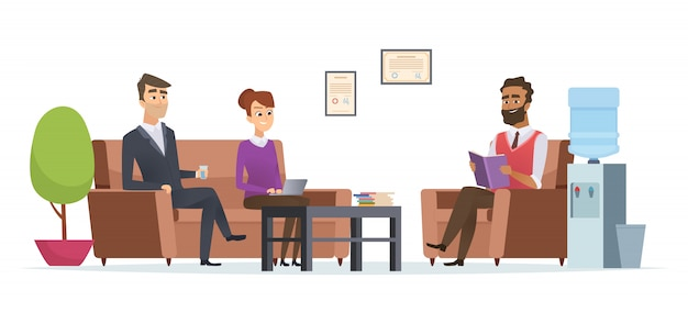 People at business waiting room illustration