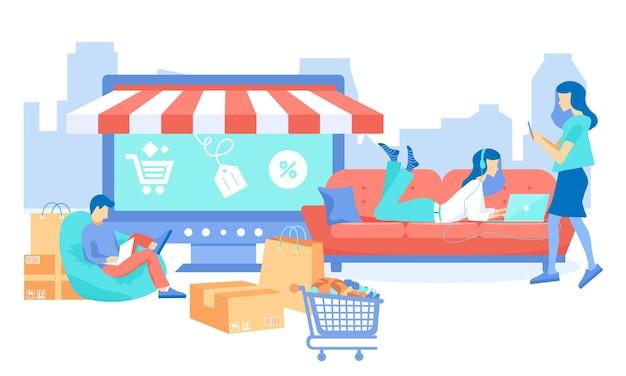 People buy items online via phone and laptop