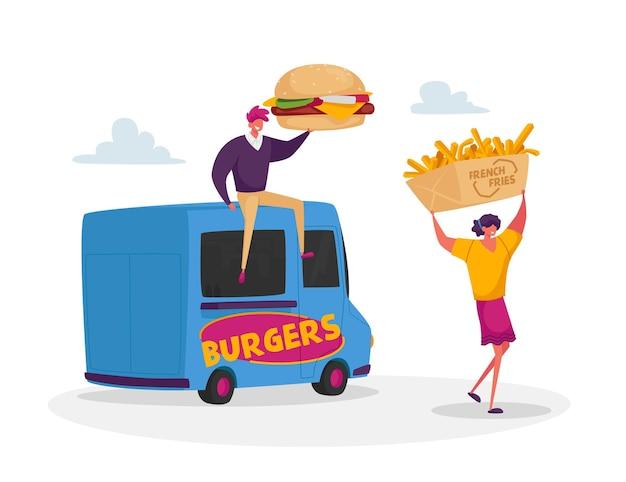 People buy street food, takeaway junk meals from wheeled cafe or food truck