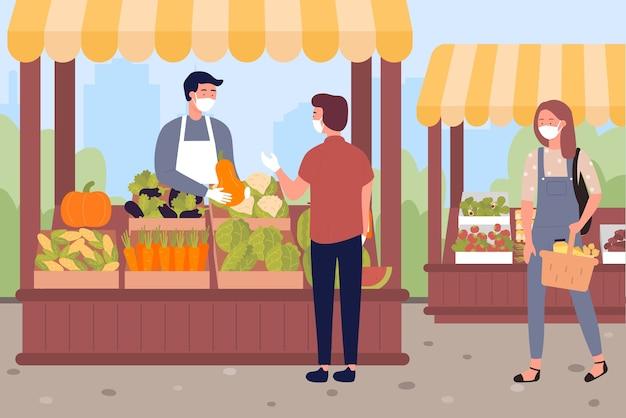 사람들은 농장 시장에서 야채와 과일을 구입합니다.