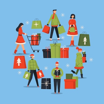 People buying christmas gifts pack