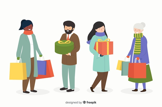 People buying christmas gifts on white background