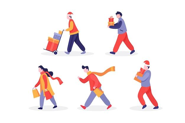 People buying christmas presents