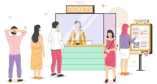 People buying cinema tickets at self service terminal and at movie ticket counter standing in queue ...