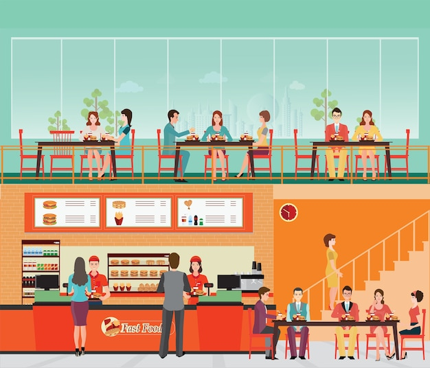 People buying fast food at fast food restaurant interior with hamburger and beverage. Premium Vector