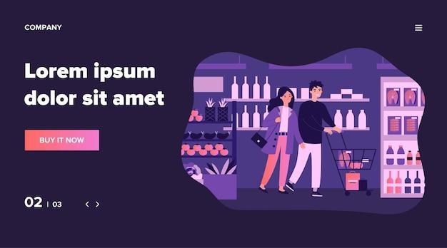 슈퍼마켓 그림에서 음식을 사는 사람들. 통로를 걸어가는 카트를 들고 매장에서 제품과 식료품을 선택하는 만화 고객. 소매 및 소비 개념.