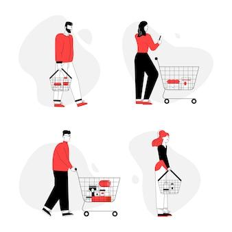 슈퍼마켓 세트에서 음식을 사는 사람들.