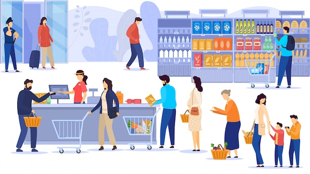 People buying food in supermarket, line at cash desk, grocery store customers,  illustration