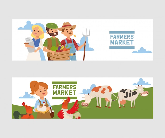 People buying fresh local vegetable from farm market banner illustration.