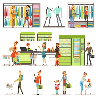 People buying grocery products and clothes in the supermarket set, family shopping colorful  illustrations