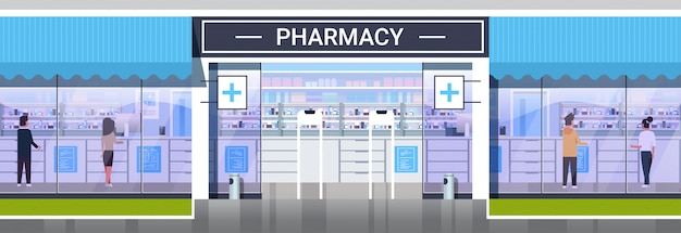 医薬品を購入する人々モダンなドラッグストア正面薬局ストア建物外装医療ヘルスケアの概念水平全長