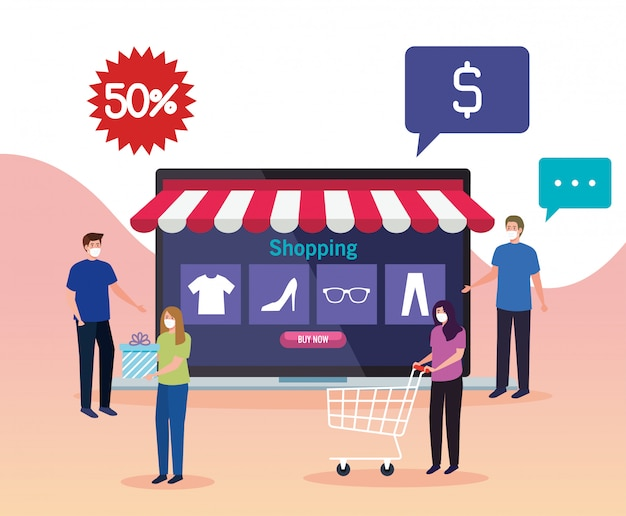 People buying online during covid 19, concept marketing and digital marketing in laptop with discount