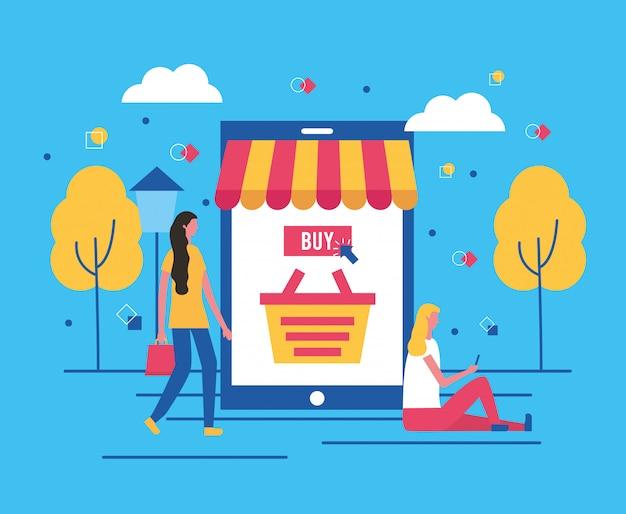 People buying online
