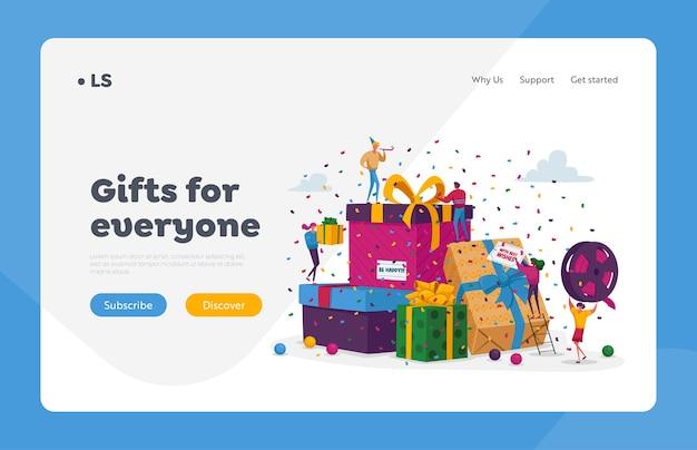Люди покупают подарки для семьи и друзей в шаблоне целевой страницы праздников. счастливые мужчины-женщины несут упакованные подарочные коробки, сложенные в огромную кучу. персонажи готовятся к рождеству. мультфильм