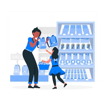 People buying school supplies concept illustration