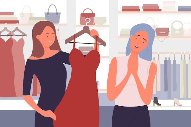 衣料品店やアパレルブティックの女の子の買い物でスタイリッシュな服を買う人