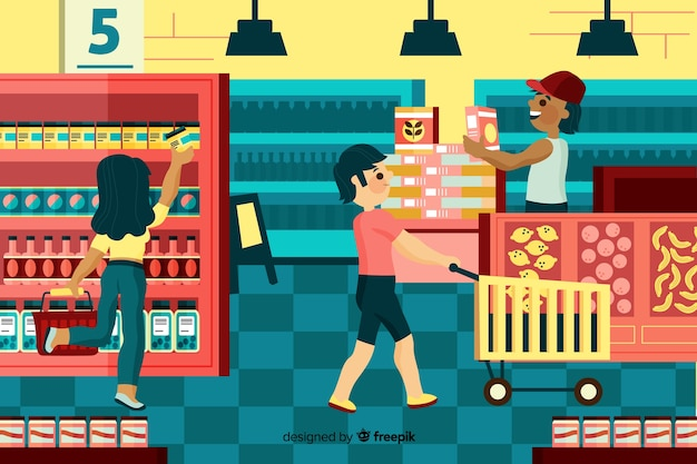 People buying in the supermarket, illustration with characters