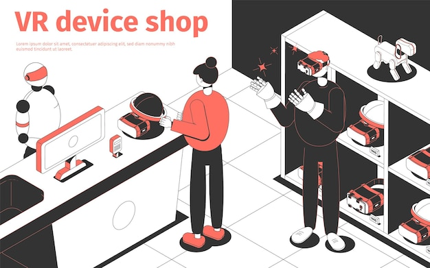 People buying vr devices in futuristic shop isometric