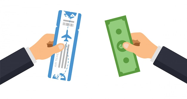 Люди покупают авиабилет. рука дает деньги и берет проездной посадочный талон. иллюстрации.