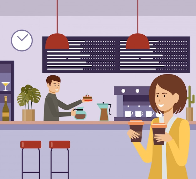 People in a cafe. lunch break. beverages. coffee time.   flat illustration