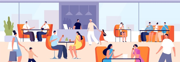 People in cafeteria. girl eating, person drinking coffee tea. couple in restaurant, meetings in cafe on mall food court vector illustration. cafeteria interior, girl and boy have lunch