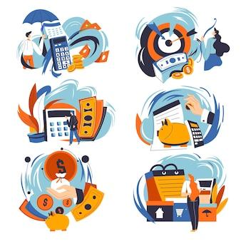 貯蓄とお金を計算する人々、予算計画と銀行の資産の分析。落下する硬貨、書類、紙幣付きの書類に便乗し、収入を管理します。フラットスタイルのベクトル
