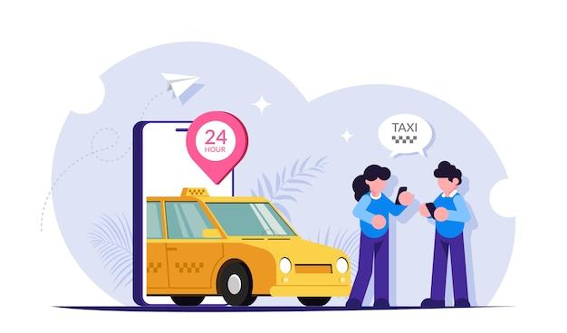 사람들은 모바일 앱을 사용하여 도시를 여행하기 위해 차를 호출합니다.