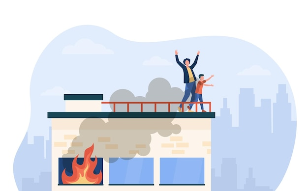 People calling for help on top of fire building. accident, smoke, victim. cartoon illustration