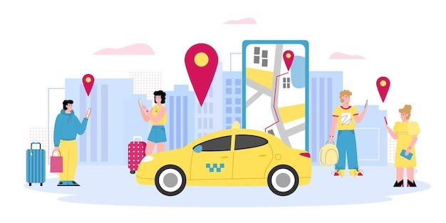 スマートフォンの漫画のベクトル図を使用してオンラインでタクシーを呼び出す人々