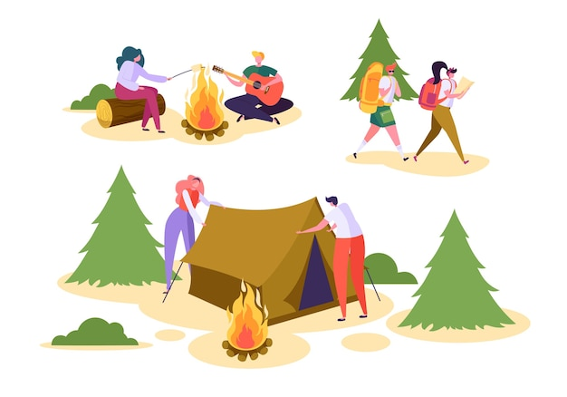 Люди кемпинг лесной природы набор.