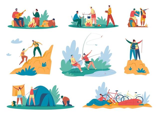 Люди в походе туристы или путешественники с рюкзаком поднимаются на горы, сидя у костра, готовя еду