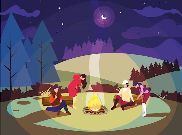 People in camping zone with campfire on night