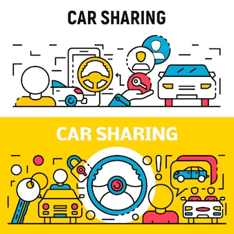 People car sharing banner set, outline style