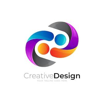3d 화려한 디자인, 자선 로고가 있는 사람들 관리 로고