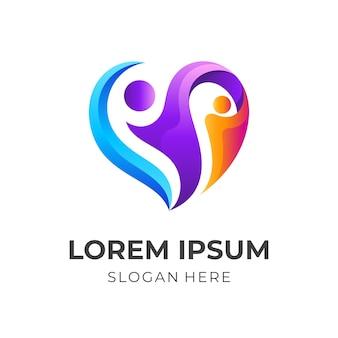 People care logo with community design illustration