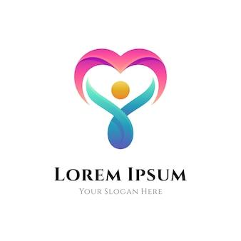 Логотип ухода за людьми с градиентным цветовым стилем