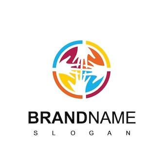 Логотип ухода за людьми с символом руки