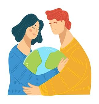 행성의 자연을 돌보고 보호하는 사람들, 남자와 여자가 지구의 모델을 들고 포용합니다. 지구본을 손에 들고 있는 남성과 여성, 지구 환경 문제 해결. 평면 스타일의 벡터